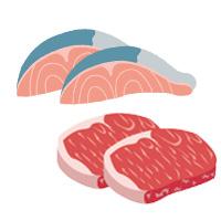 魚と牛肉の切り身